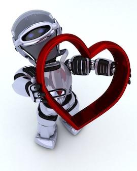 ハートのチャーム付きロボットのレンダリング3d