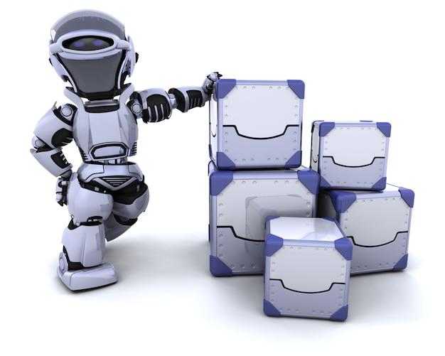 3d визуализации робота движущихся упаковочные коробки