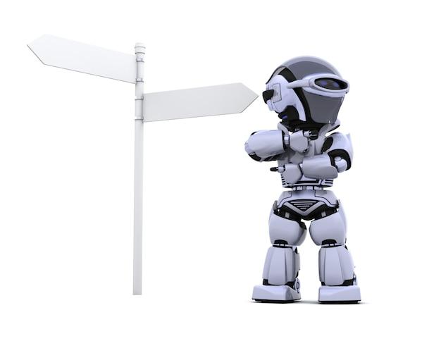 Il rendering 3d di un robot a un cartello