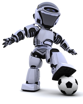 Robot with soccer ball Free Photo