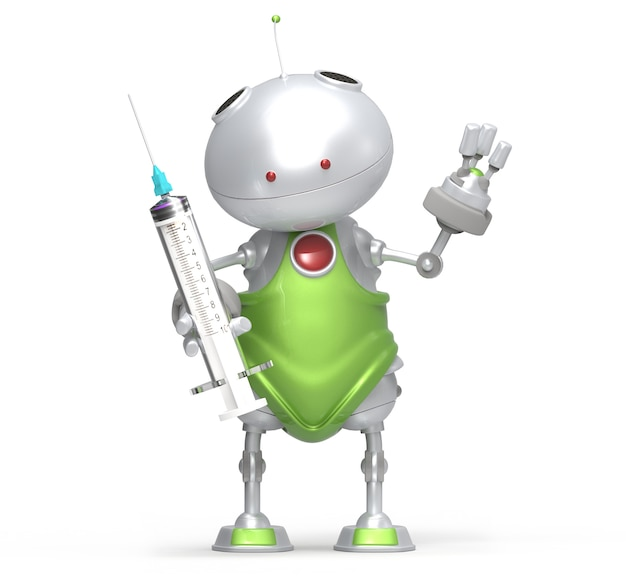 Robot with syringe in hand, white isolated