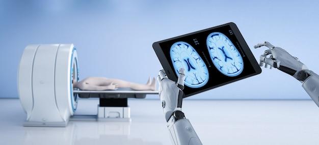 Робот с планшетным дисплеем рентгеновского мозга