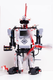 Robot with toy blocks and wires