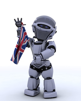 Robot with united kingdom flag