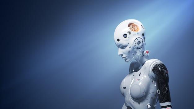 로봇 여자, 신경망의 미래와 인공 지능 3d 렌더링의 공상 과학 여자 디지털 세계