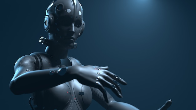Женщина-робот, женщина-фантаст, цифровой мир будущего нейронных сетей и 3d-рендеринга искусственного интеллекта