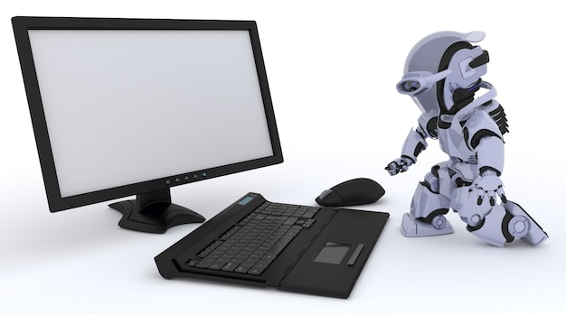 Robot working with a computer