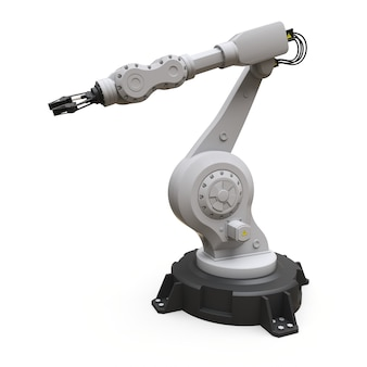 Robotic arm for any work in a factory or production. mechatronic equipment for complex tasks. 3d illustration.