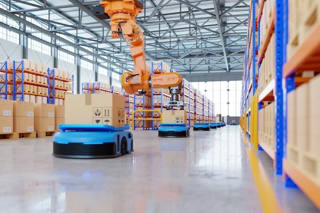 Роботизированная рука для упаковки с производством и обслуживанием логистических систем с использованием автоматизированного управляемого транспортного средства (agv), 3d-рендеринг