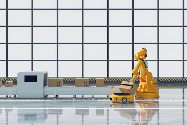 Роботизированная рука, работающая с передающим роботом и рабочая линия с рентгеновским ящиком на складе или складе, концепция логистической технологии, рендеринг 3d-иллюстрации