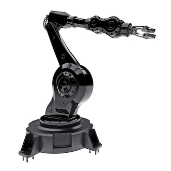 Robotic black arm for any work in a factory or production. mechatronic equipment for complex tasks. 3d illustration.
