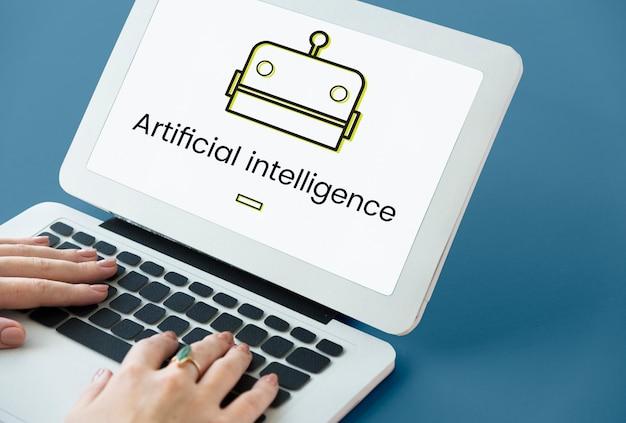 デジタル画面上のロボットの概念