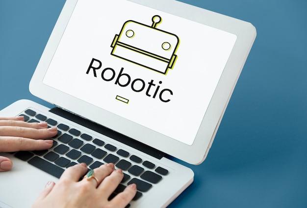 디지털 화면에 로봇 개념