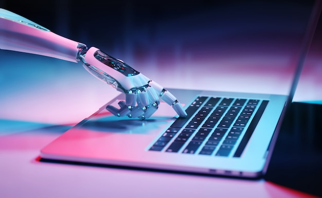 ノートパソコンの3dレンダリングでキーボードを押すロボットハンド Premium写真