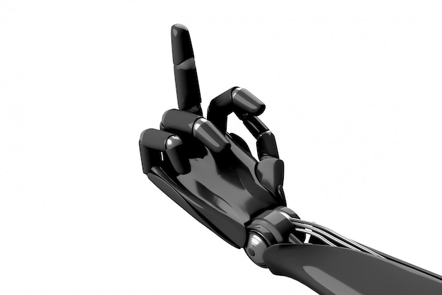 Robotic hand showing the gesture fuck