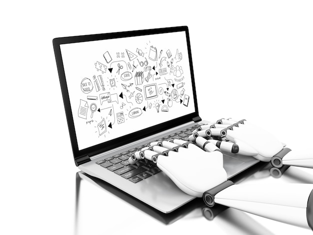 Robotic hands typing on a laptop with education sketch