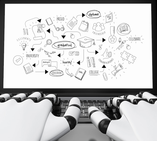 Robotic hands typing on a laptop with graduation sketch