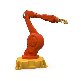 Robotic orange arm for any work in a factory or production. mechatronic equipment for complex tasks. 3d illustration.