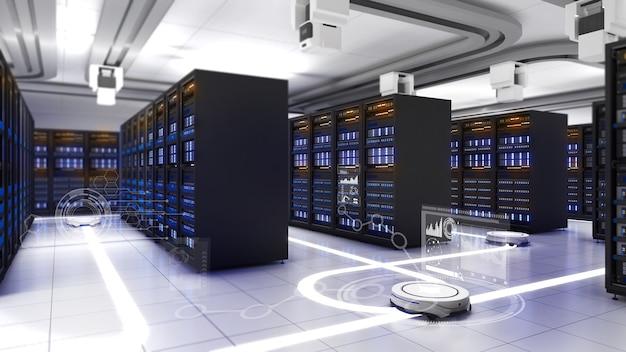 Роботизированная система мобильные роботы помогают работать на рабочем месте сервермобильный робот помогает общению