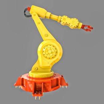 Роботизированная желтая рука для сложных задач в 3d-рендеринге