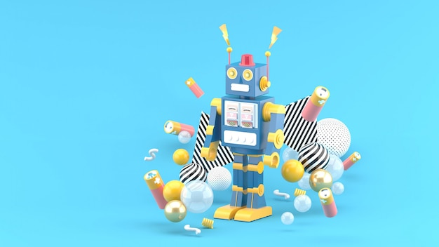 The robots are among the batteries and colorful balls on the blue space