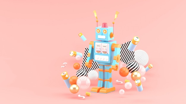 The robots are among the batteries and colorful balls on the pink space