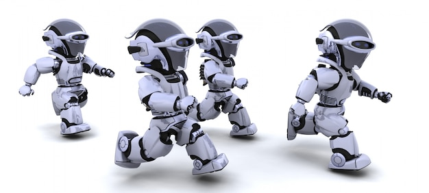 Robots competing in a race