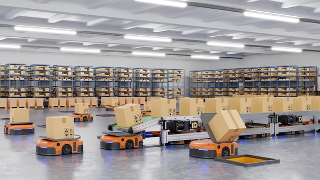 ロボットが1時間に数百個の小包を効率的に分類する(無人搬送車)agv.3dレンダリング