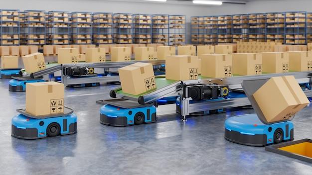 ロボットが1時間に数百個の小包を効率的に仕分けする(無人搬送車)agv