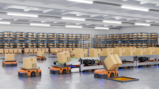 Robots efficiently sorting hundreds of parcels per hour(automated guided vehicle) agv.3d rendering