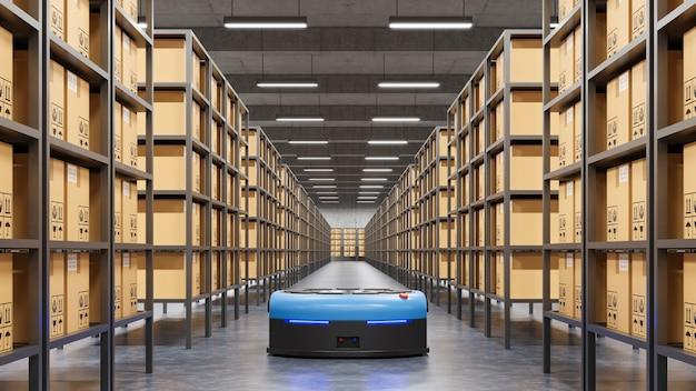 Robot che smistano in modo efficiente centinaia di pacchi all'ora (veicolo a guida automatica) agv.3d rendering