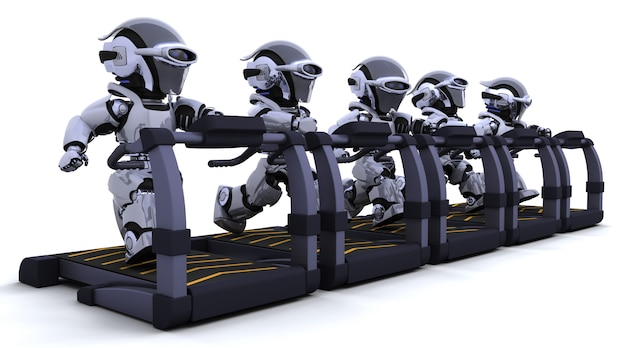 Robots exercising on treadmill