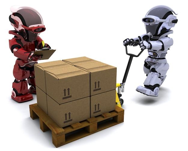 配送ボックスとロボットのレンダリング3d