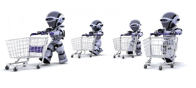 Robots with shopping carts