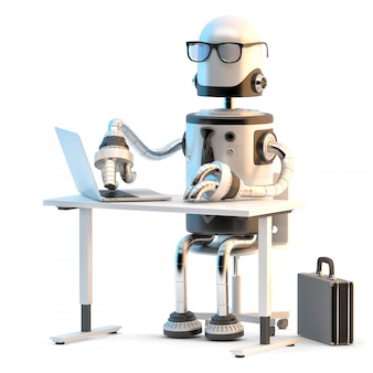 Robots working in the office. 3d illustration.