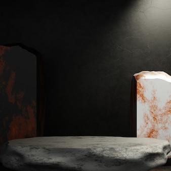 프레 젠 테이 션 템플릿에 대 한 어두운 회색 콘크리트 스튜디오 룸 배경에 바위와 석조 받침대.