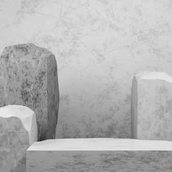 프리젠테이션을 위한 밝은 회색 콘크리트 스튜디오 룸 배경의 바위와 돌 받침대 연단은 template.3d 렌더링 그림을 조롱합니다.