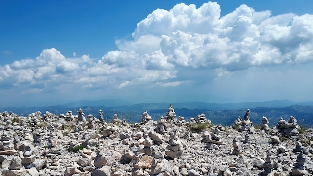 Rock balancing on mountain in montenegro