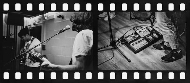 Rock band guitarist performing repetition in recording studio