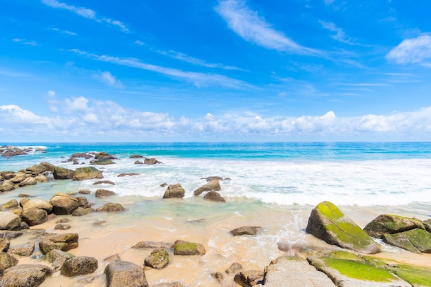 바위 해변과 바다.
