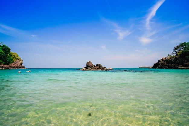 Rock in the blue sea.beautiful beach in thailand.