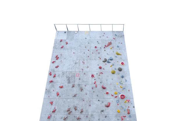 Rock climbing on an artificial wall isolated over white background