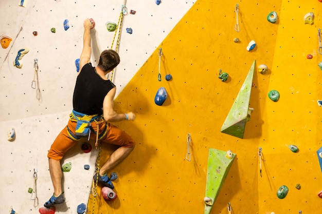 A rock climbing wall for background