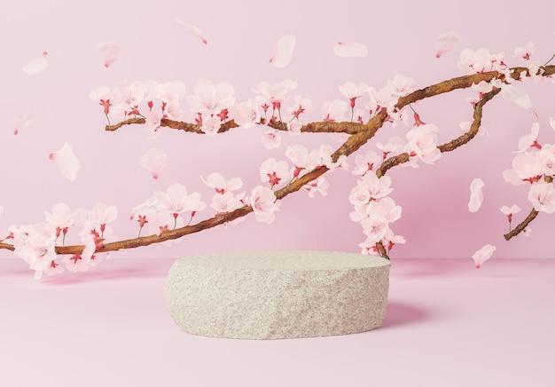 ピンクの表面と桜でいっぱいの枝を持つ製品プレゼンテーションのための岩
