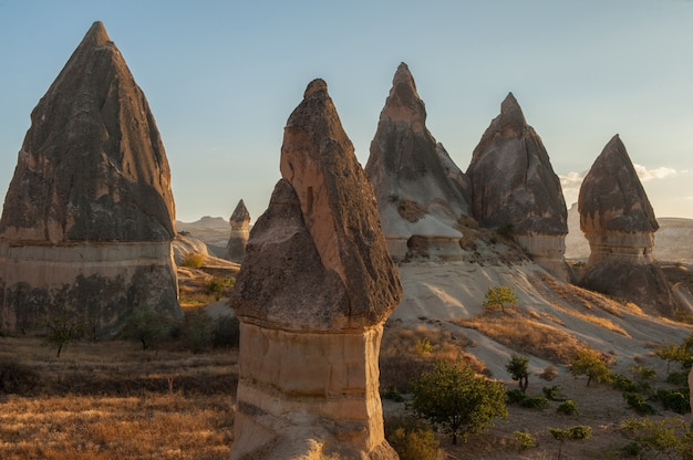 Rock formations in goreme national park in turkey