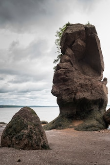 Rock formations at hopewell rocks, bay of fundy, new brunswick, canada