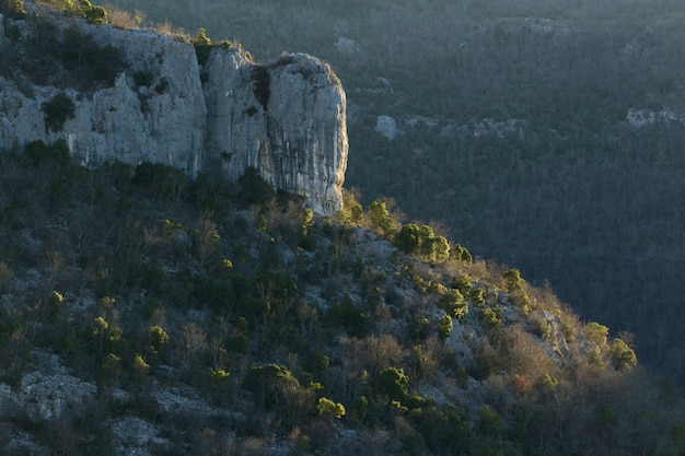 Rock formations in the mountains in istria, croatia in autumn