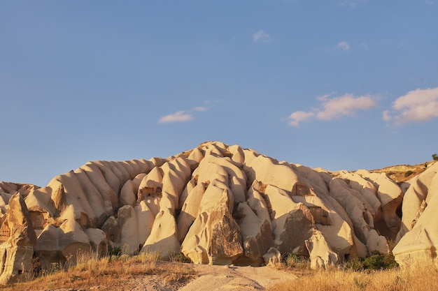 Rock formations in rose valley capadoccia in goreme, turkey