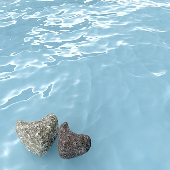 Rock heart shape on sea , 3d rendering.