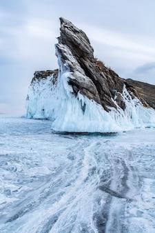 Rock island in lake baikal, russia, landscape